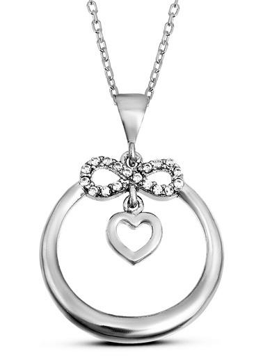 Argentum Concept Argentum Concept N137601 925 Ayar Kalpli Sonsuzluk Motifli Zirkon Taşlı Silver Kadın Kolye Gümüş